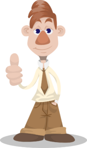 DauemnhochMann im lässigen Anzug für den Trampolin Test